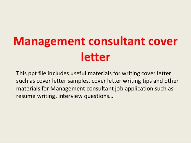 management consultant cover letter - Cover Letter Management Consulting