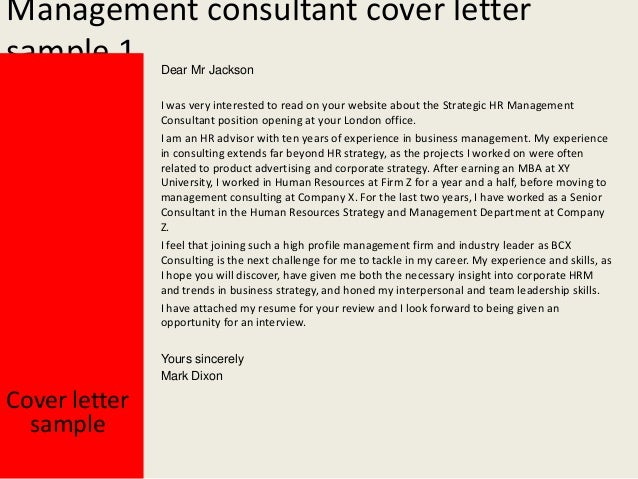 management consultant cover letter sample - Management Consulting Cover Letter Samples