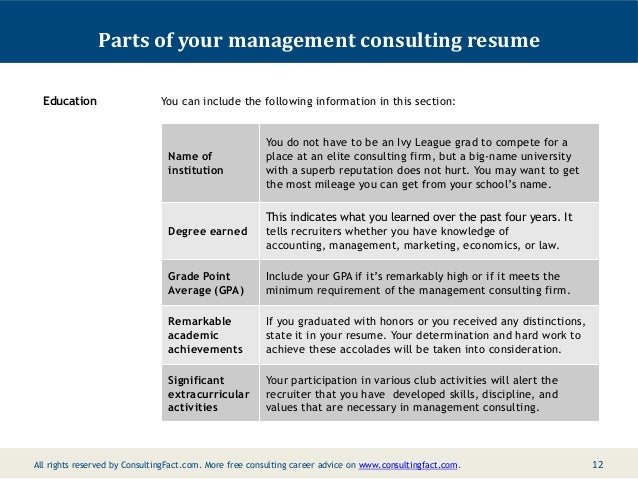 11 12 parts of your management consulting resume education you can include the following information - Sample Consultant Resumes 10 Top Consultant Resume Examples