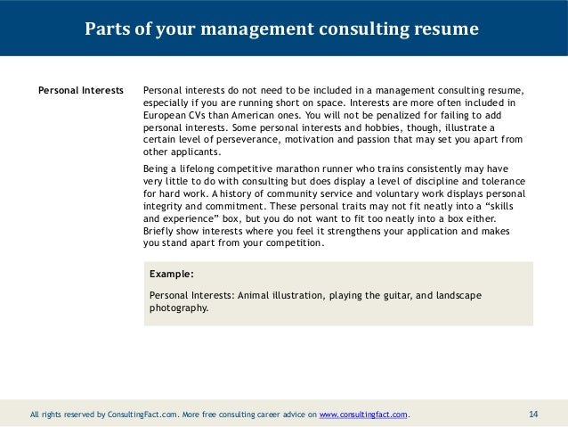 13 14 parts of your management consulting resume personal interests - Personal Interests On Resume Examples
