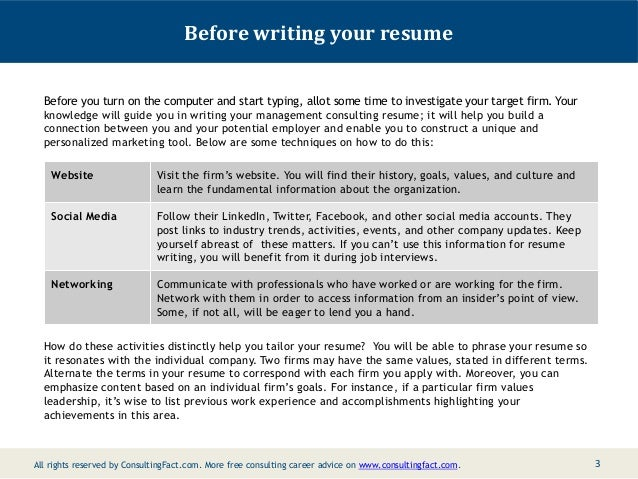 2; 3. Before Writing Your Resume ...  Consulting Resume