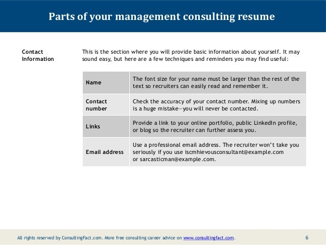 5; 6. Parts Of Your Management Consulting Resume ...