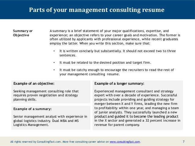 6; 7. Parts Of Your Management Consulting Resume Summary Or Objective ...  Objective Section Of Resume Examples