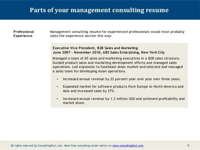 cv professional experience section