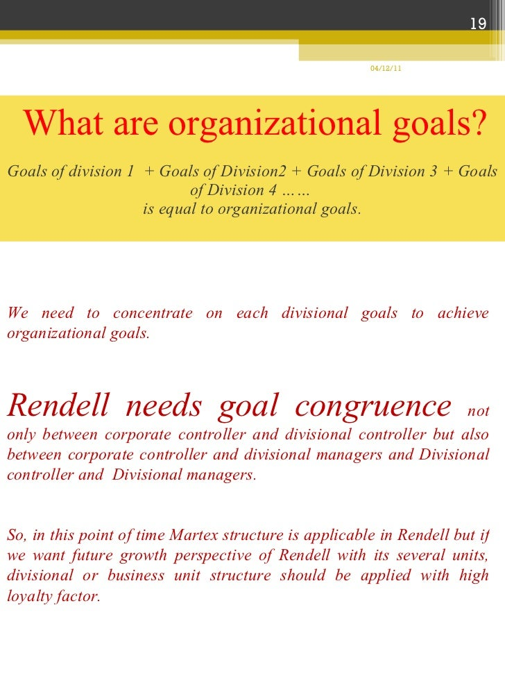 rendell company This report will give us a clear perspective as to what the optimal organizational structure that suits rendell company plus some additional control system in attaining the company's main objectives we will be also tackling the roles, functions and responsibilities of a controller in an.