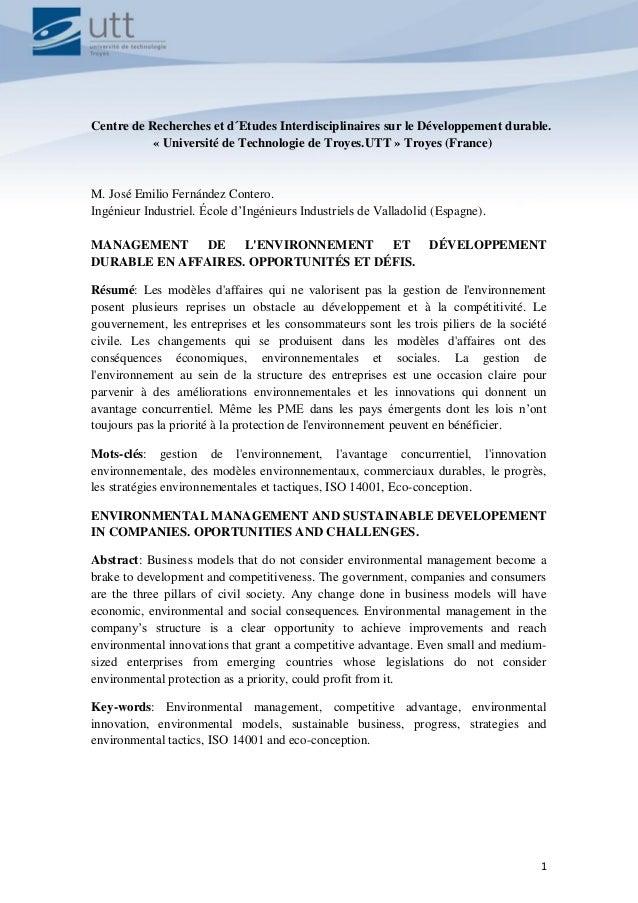 MANAGEMENT DE L'ENVIRONNEMENT ET DÉVELOPPEMENT DURABLE EN AFFAIRES. OPPORTUNITÉS ET DÉFIS 2015 1 Centre de Recherches et d...