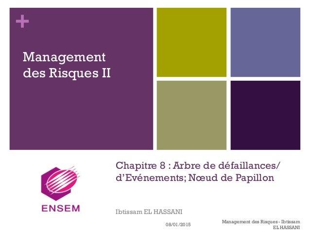 + Chapitre 8 : Arbre de défaillances/ d'Evénements; Nœud de Papillon Ibtissam EL HASSANI Management des Risques II 08/01/2...