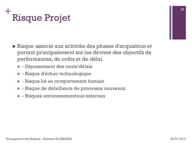 + Risque Projet n Risque associé aux activités des phases d'acquisition et portant principalement sur les dérives des ob...