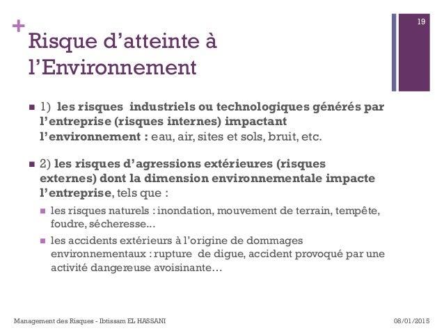 + Risque d'atteinte à l'Environnement n 1) les risques industriels ou technologiques générés par l'entreprise (risques...