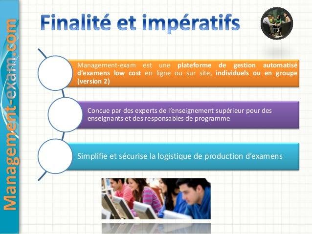 Management exam, un dispositif d'évaluation en ligne Slide 2