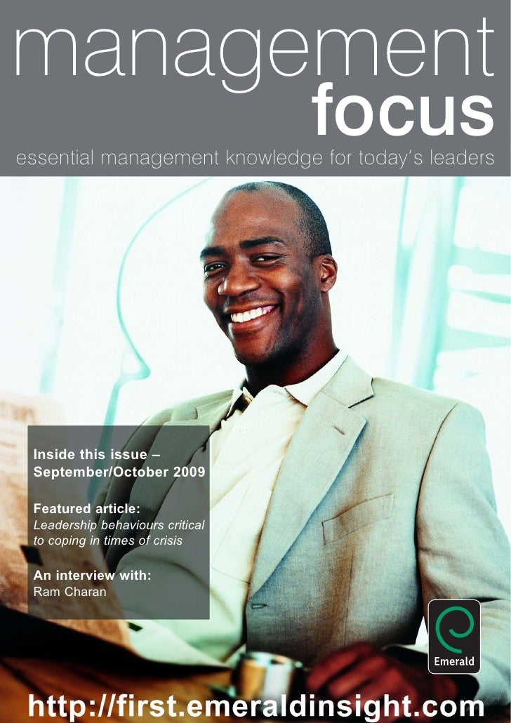 management                                   focus essential management knowledge for today's leaders      Inside this iss...