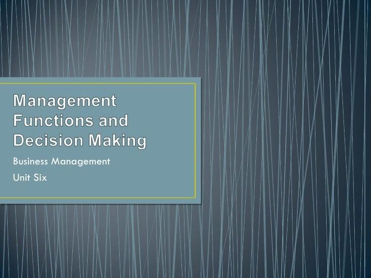 Business Management Unit Six