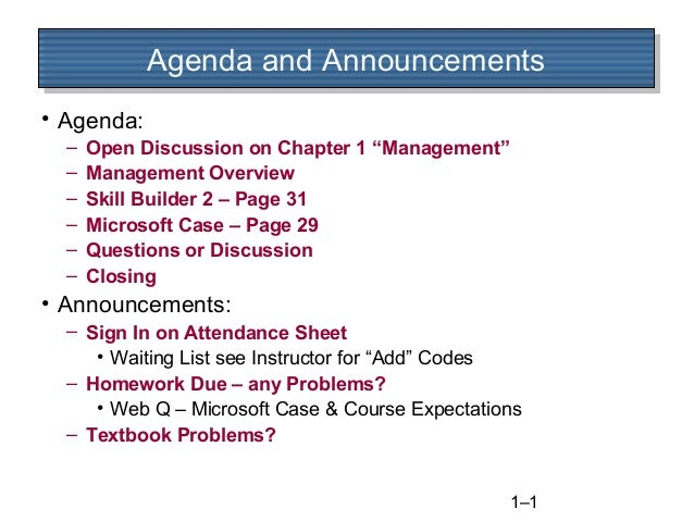 """Agenda and Announcements Agenda and Announcements • Agenda: – – – – – –  Open Discussion on Chapter 1 """"Management"""" Managem..."""