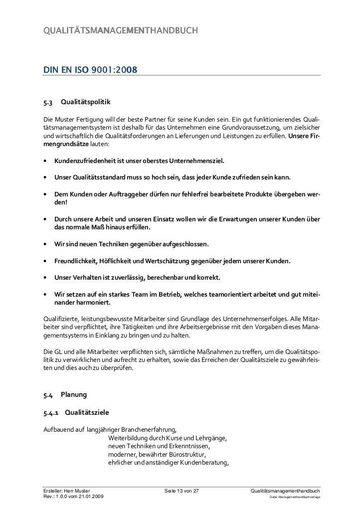 managementhandbuchvorlage 13 - Qualitatspolitik Beispiel