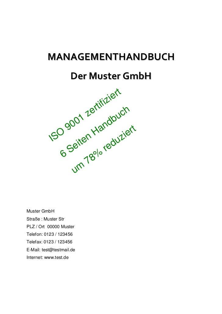 MANAGEMENTHANDBUCH                        Der Muster GmbH                                             t                   ...