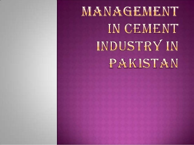 cement industry in pakistan pdf