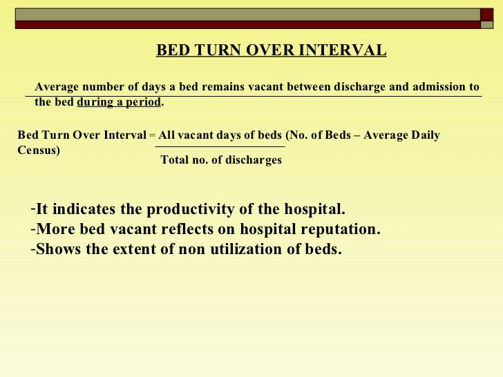 BED TURN OVER INTERVAL   Average number of days a bed remains vacant between discharge and admission to the bed  during a ...