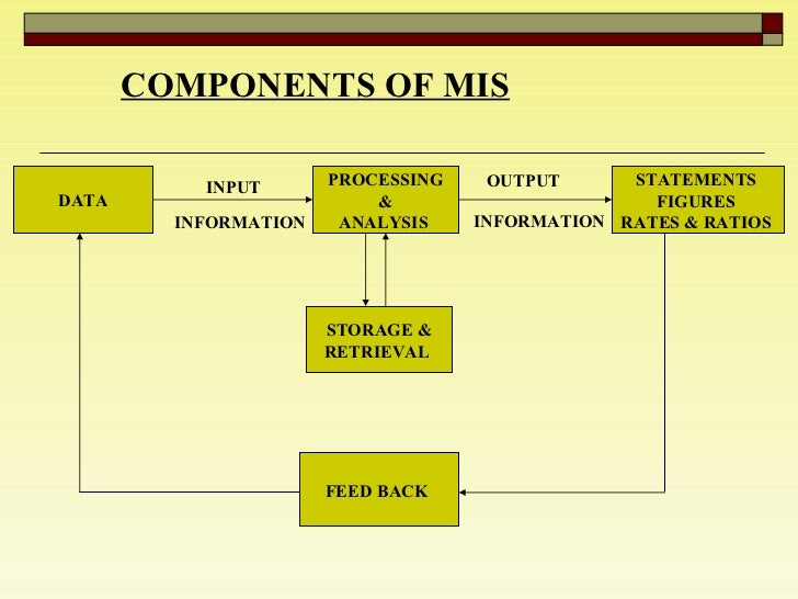 COMPONENTS OF MIS   DATA PROCESSING & ANALYSIS  STATEMENTS  FIGURES  RATES & RATIOS  STORAGE & RETRIEVAL  FEED BACK   INPU...
