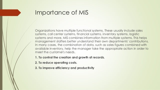 importance of information management Information management system ims definition - information management system (ims) is a general term for software designed to facilitate the storage.