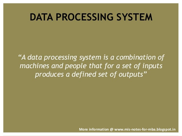 Management Information System Data Processing And Functions