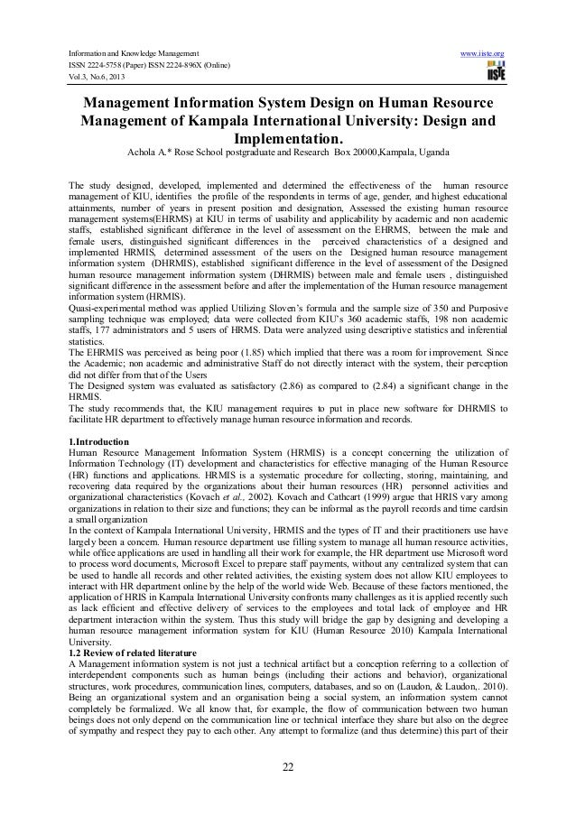 Information and Knowledge Management www.iiste.org ISSN 2224-5758 (Paper) ISSN 2224-896X (Online) Vol.3, No.6, 2013 22 Man...