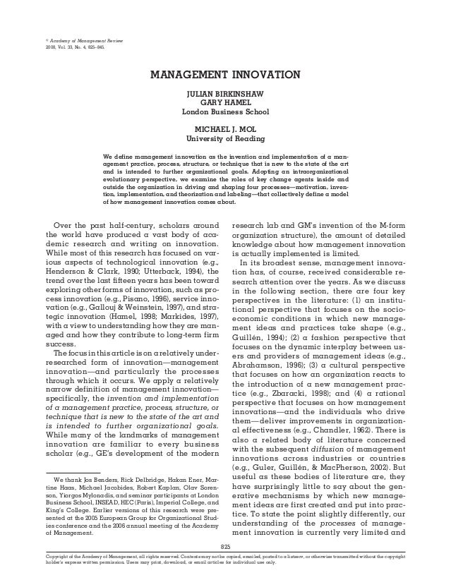஽ Academy of Management Review2008, Vol. 33, No. 4, 825–845.                                                MANAGEMENT INN...