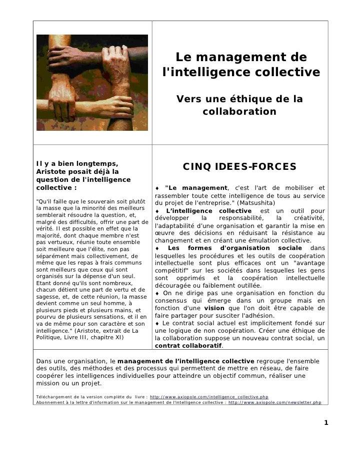 Le management de                                                      lintelligence collective                            ...