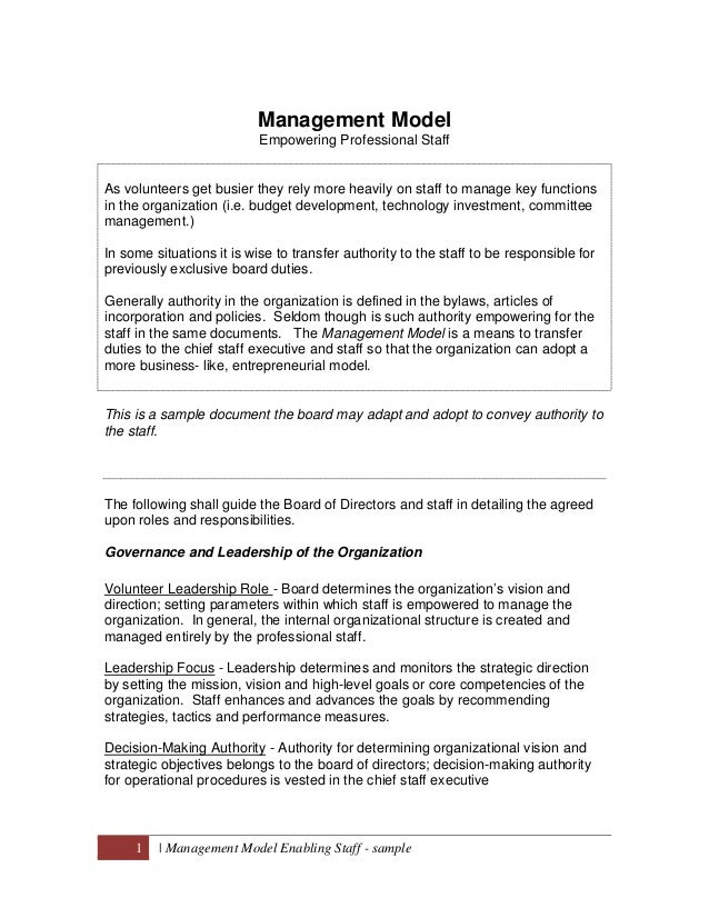 Management Model                           Empowering Professional StaffAs volunteers get busier they rely more heavily on...