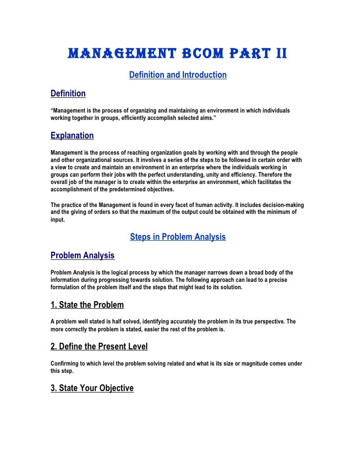 "MANAGEMENT BCOM PART II                                Definition and IntroductionDefinition""Management is the process of ..."