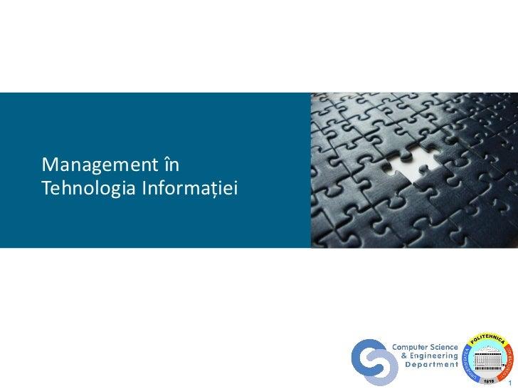 Management în Tehnologia Informaţiei