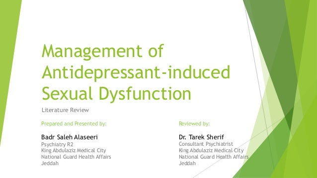 Post ssri sexual dysfunction experiences