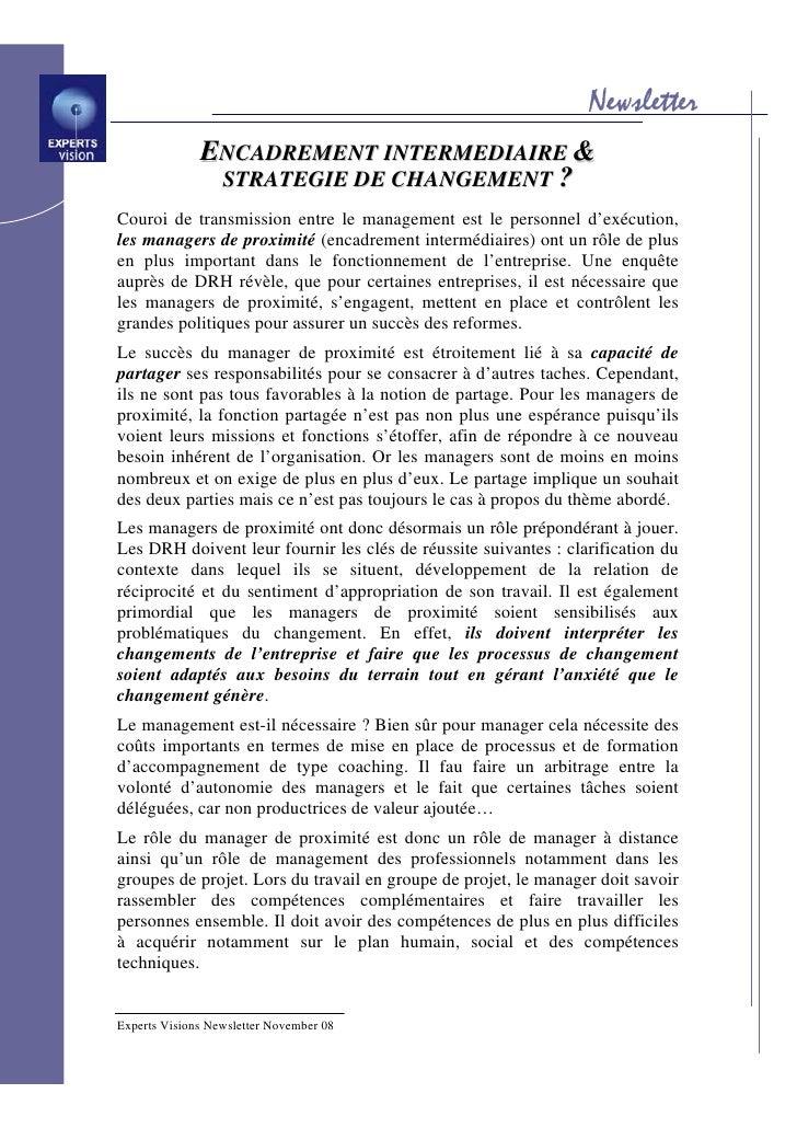 Newsletter               ENCADREMENT INTERMEDIAIRE &                STRATEGIE DE CHANGEMENT ? Couroi de transmission entre...