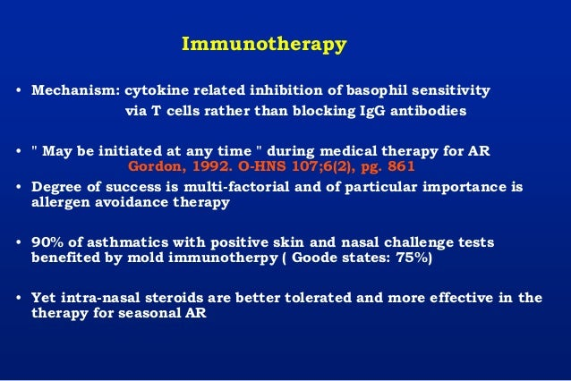 Immunotherapy • Mechanism: cytokine related inhibition of basophil sensitivity via T cells rather than blocking IgG antibo...