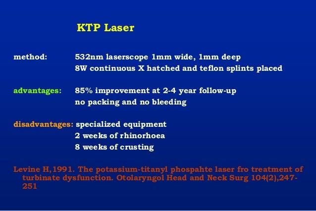 KTP Laser method: 532nm laserscope 1mm wide, 1mm deep 8W continuous X hatched and teflon splints placed advantages: 85% im...