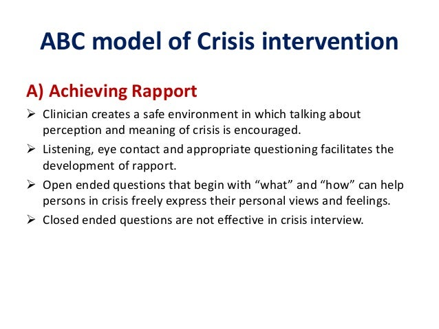 abc crises intervention Essays - largest database of quality sample essays and research papers on abc model of crisis intervention.