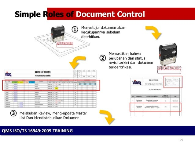 Management of document control for Documents control course