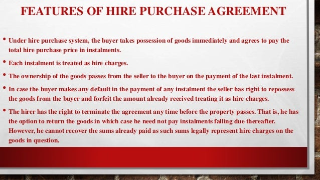 Management of financial serviecs 6 the important clauses in a hire purchase agreement platinumwayz