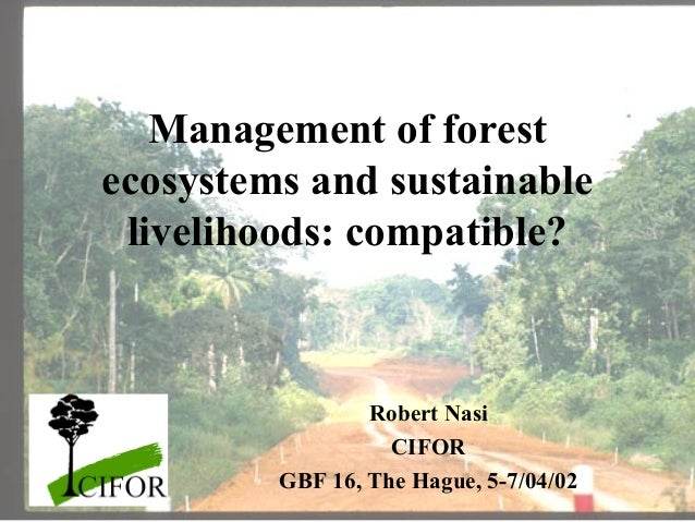Management of forest ecosystems and sustainable livelihoods: compatible?  Robert Nasi CIFOR GBF 16, The Hague, 5-7/04/02