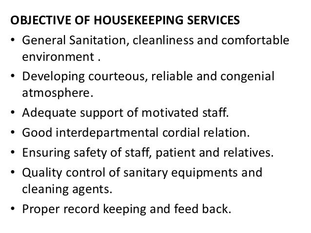 Management Of Housekeeping Services In Hospitals