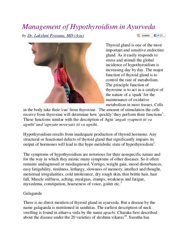 Management of hypothyroidism in ayurveda