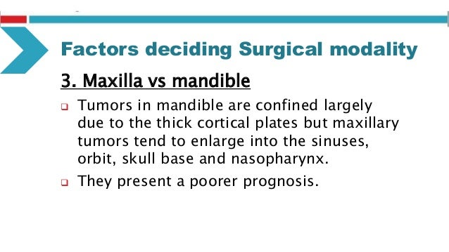 Factors deciding Surgical modality 6. Intraosseous vs Extraosseous location  Intra-osseous lesions that does not perforat...