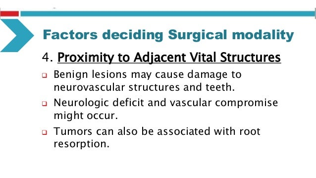 Factors deciding Surgical modality 7. Duration of Lesion  Slowly growing lesion (benign): enucleation or block excision. ...