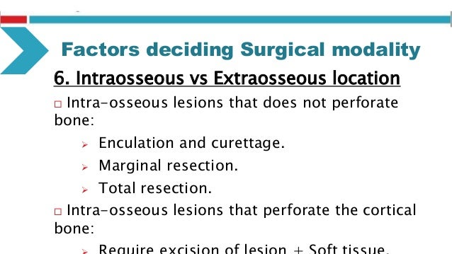Modalities of Surgical excision  Enucleation (with or without curettage)  Resection  Marginal Resection  Segmental Res...