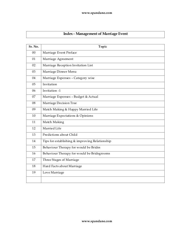 Management Of Marriage Event