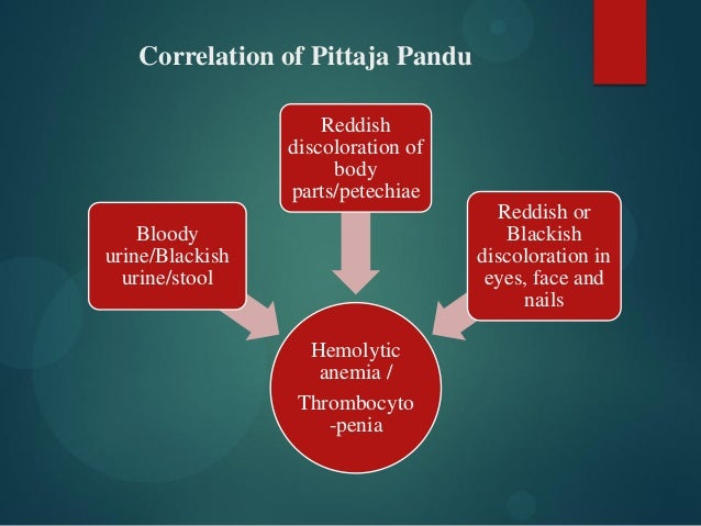 Hemolytic anemia / Thrombocyto -penia Bloody urine/Blackish urine/stool Reddish discoloration of body parts/petechiae Redd...