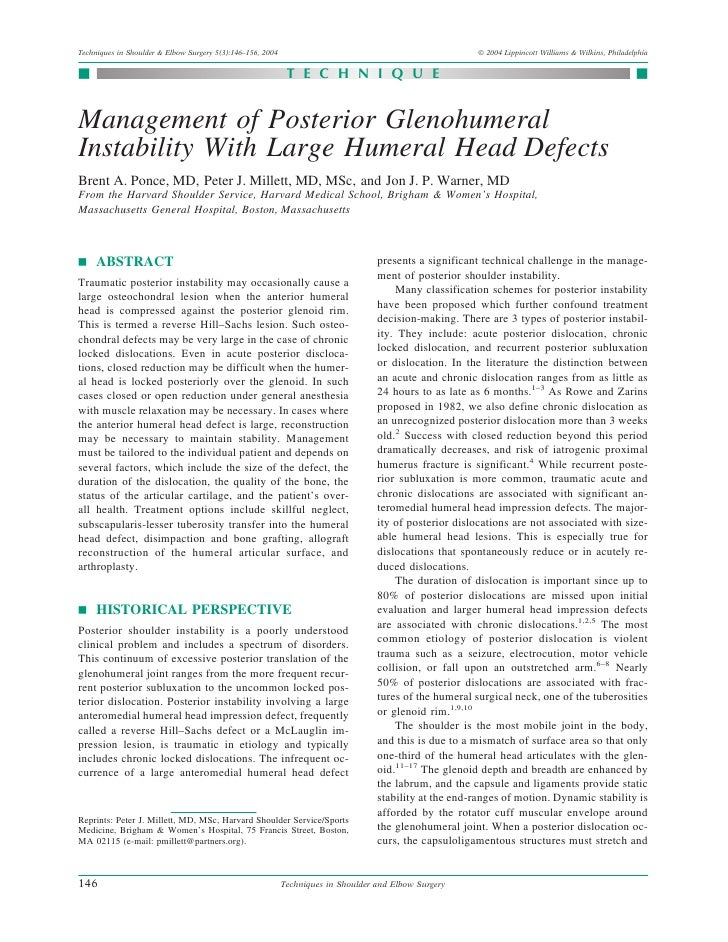 Techniques in Shoulder & Elbow Surgery 5(3):146–156, 2004                                                © 2004 Lippincott...