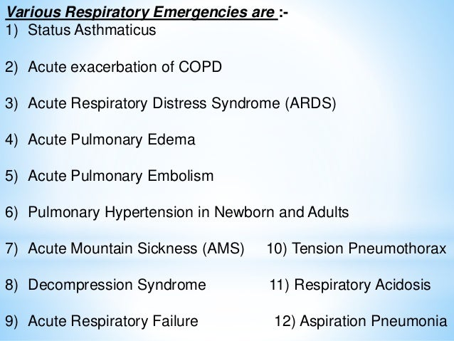 Management Of Respiratory Emergencies
