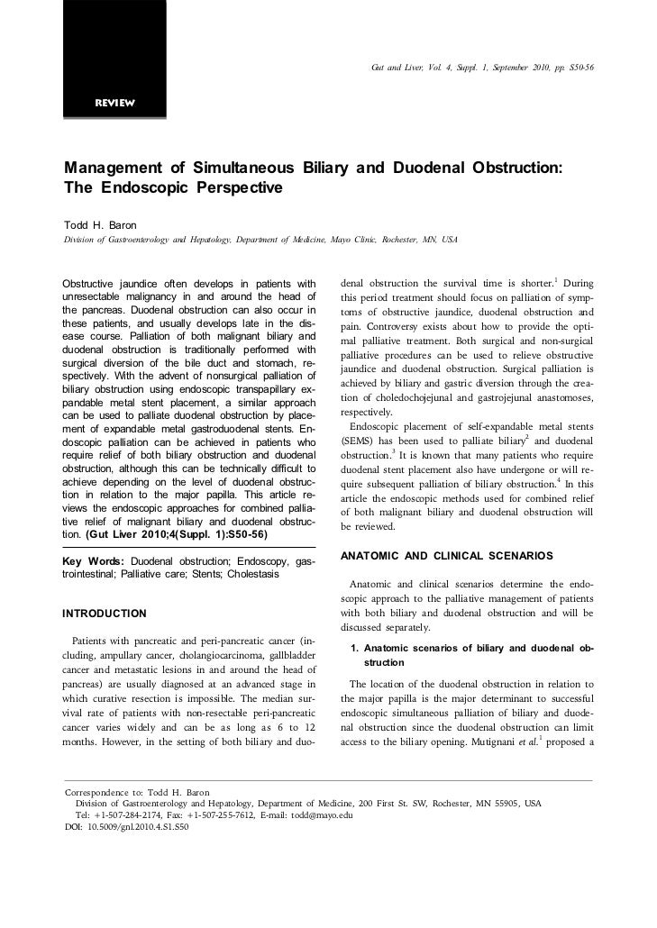 Gut and Liver, Vol. 4, Suppl. 1, September 2010, pp. S50-56       ReviewManagement of Simultaneous Biliary and Duodenal Ob...