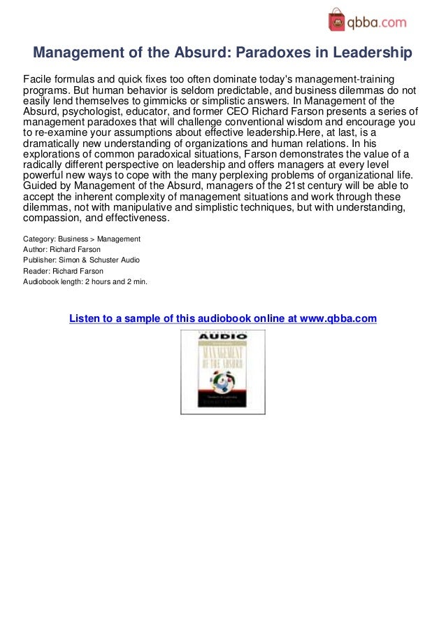 Management Of The Absurd Paradoxes In Leadership Book Review By Qbba