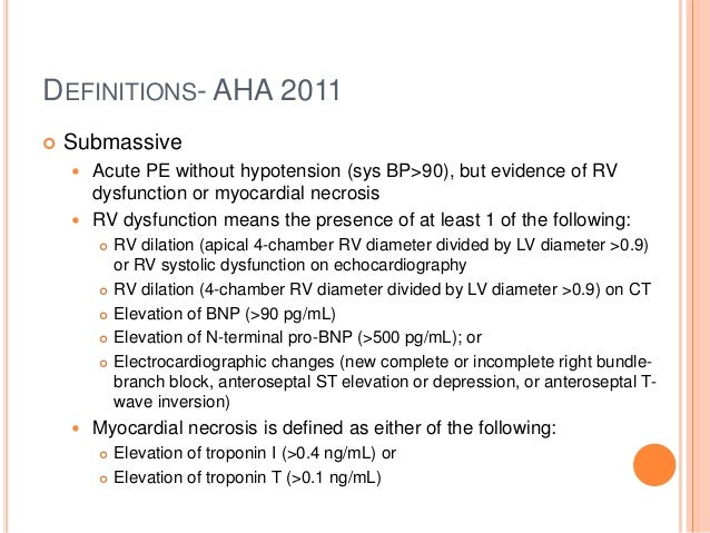 3 DEFINITIONS AHA 2011 Submassive Acute PE